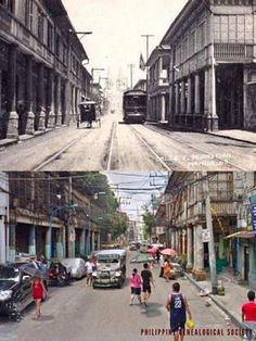 "Dito, Noon: Hidalgo Street, Manila, 1890s x 2010s. #kasaysayan -- Formerly known during the Spanish colonial times as Calle San Sebastian, it was renamed after the painter Félix Resurrección Hidalgo. It was once considered ""the most beautiful street in Manila."" In the horizon, you could see the San Sebastian Church in both images. Then And Now Pictures, Old Pictures, Old Photos, Baguio City, Cebu City, Philippines Culture, Manila Philippines, Filipino Architecture, Philippine Holidays"