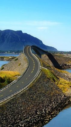 The Atlantic Road in Norway is considered one of the most scenic road trips in Europe. Drive along the infamous stretch alongside the ocean when battered by storms featuring fierce winds and crashing waves.