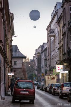 The balloon viewed from Beer Meisels street in Kazimierz district, Krakow (Cracow), Poland