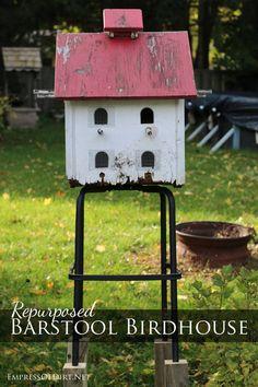Turn a barstool into a birdhouse stand | empressofdirt.net