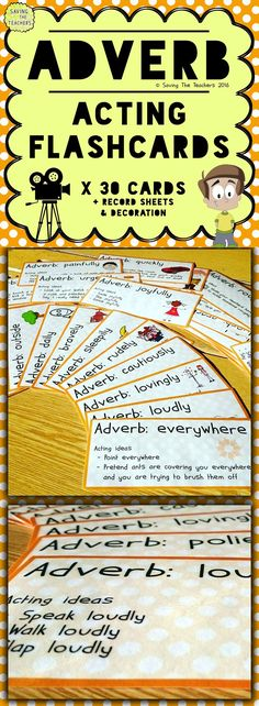 Adverb acting is a fun and entertaining activity (for both the teacher and children!) which is played like charades. It is an exciting and practical activity for children to learn that adverbs modify verbs. Creative Teaching, Student Teaching, Teaching Resources, Teaching Ideas, Adverb Activities, English Activities, Acting Games, Grammar Games, Adverbs