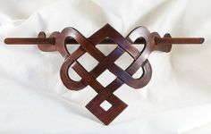 Leather Celtic Knot barrette in luscious chocolate cherry