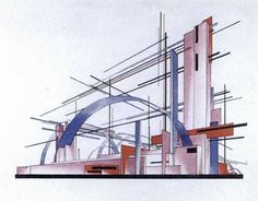 DESIGN FOR A MUSEUM AND WORKERS' CLUB DEVOTED TO RADIO Russian Constructivism, Cityscape Art, Art Forms, Modern Architecture, Old School, Concept Art, Museum, Futurism, Plane