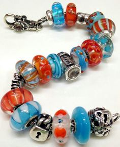 Troll Beads-favorite colours....orange & blue