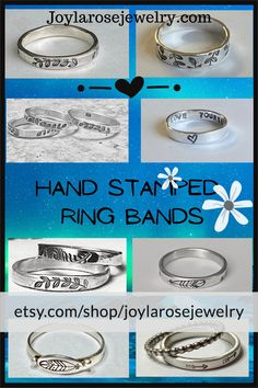 Silver Stacking rings with hand stamped designs. Sterling Silver Flowers, Sterling Silver Rings, Silver Stacking Rings, Hand Ring, Flower Stamp, Thumb Rings, Hand Stamped, Ankle, Jewelry