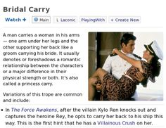 The 'Bridal Carry' page on TV Tropes. I. This. I TOLD YOU.