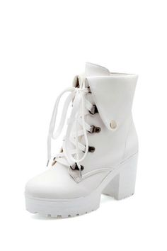 AmoonyFashion Women's Round Closed Toe Lace Up Pu Solid High-Heels Boots, White, 36 for sale Lace Up Heel Boots, High Heel Boots, Heeled Boots, High Heels, Platform Boots, Funky Shoes, Cute Shoes, Kawaii Shoes, Lolita Shoes