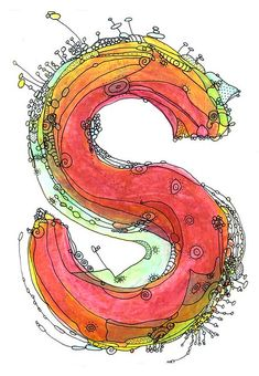 Whimsical letter S funky Art Print by Ingrid Padilla - Epson Ultra Chrome pigment ink Love this spirited S. Doodle Lettering, Creative Lettering, Lettering Design, Hand Lettering, Typography Drawing, Alphabet Art, Letter Art, Alphabet Soup, Graffiti Alphabet