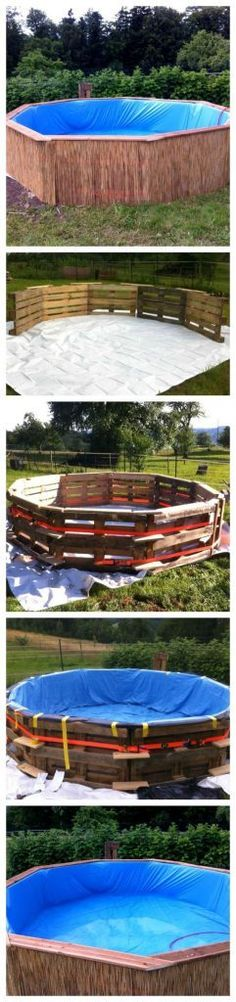 Ted's Woodworking Plans - DIY Swimming Pool using 9 full size pallets and a very large medium duty tarp - Get A Lifetime Of Project Ideas & Inspiration! Step By Step Woodworking Plans Piscina Diy, Pallet Crafts, Pallet Projects, Diy Projects, Project Ideas, Diy Pallet, Pallet Ideas, Pallet Pool, Project 11