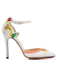 Celebration Celia embroidered beige point-toe pumps