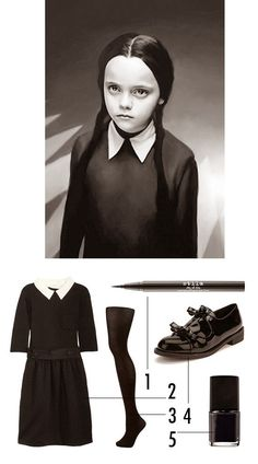 DYI. Disfraces para Halloween Disfraz Costume  Addams Miércoles Niños Kids