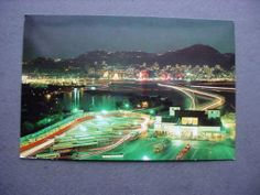 Vintage 1972 Hong Kong Postcard Birdseye at Night Ferry Pier Used to US
