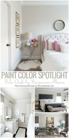 Pale Oak By Benjamin Moore is a balanced and versatile warm neutral griege (gray/beige) paint color that works beautifully in both full or limited natural lighting and artificial lighting. Read more (plus more great paint colors) from The Creativity Excha Grey Beige Paint, Beige Paint Colors, Bedroom Paint Colors, Interior Paint Colors, Paint Colors For Home, Light Paint Colors, Natural Paint Colors, Indoor Paint Colors, Warm Gray Paint