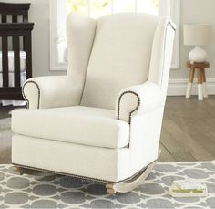 abbyson living thatcher fabric rocking chair in beige high office for standing desk rocker baby room pinterest rockers and fabrics