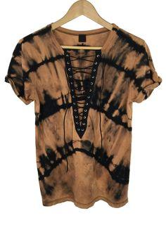 bleach tie dye lace-up shirt