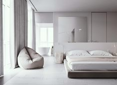 Two minimalist home interiors featuring light grey and white decor with natural wood accents, plus modern furniture designs and contemporary lighting ideas. Minimalist Apartment, Minimalist Bedroom, Parisian Apartment, Apartment Layout, Apartment Interior, Apartment Living, Furniture Decor, Furniture Design, Modern Furniture