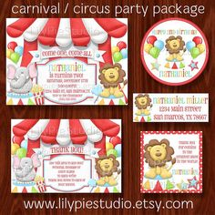 Carnival Circus Birthday Invitation Party Package