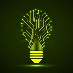 Abstract glowing lamp with circuit board. Technology light bulb - Stock V , Circuit Tattoo, Lamp Tattoo, Cool Symbols, Circuit Board Design, Cnc Cutting Design, Computer Chip, Chip Art, Tech Art, Technology Wallpaper
