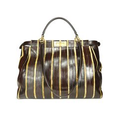 The Peekaboo bag has become a must have in any wardrobe for it's classic design and versatility. This Large Peekaboo satchel is crafted in eel skin in signature Fendi stripes and designed with with signature square twist lock in gold toned hardware. Features a top handle strap and detachable and adjustable cross body strap. Interior is lined suede and eel and features 2 main compartments, 1 compartment has a zippered pocket. | Please note that protective sticker still on one side of turn…