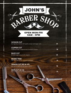Copy of Barber Shop Price Flyer Poster Barber Shop Interior, Barber Shop Decor, Salon Interior Design, Best Barber Shop, Barber Poster, Barber Logo, Salon Price List, Clipper Cut, Buffet Hutch
