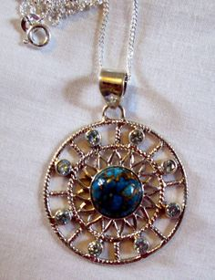 NECKLACE TURQUOISE  Blue TOPAZ   925  Sterling by MOONCHILD111, $22.95 https://www.etsy.com/shop/MOONCHILD111