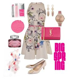 """""""Pretty In Pink"""" by livingluxe808 on Polyvore featuring Christian Dior, Olivia Burton, Givenchy, Patricia Padrón, Ted Baker, Yves Saint Laurent, Gucci and Manolo Blahnik"""