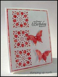"handmade birthday card from stamping up north ... three's ... different elements  and negative space MS flower punch squares ... luv the watercolor look paper for the butterflies and the backing for the pumched out ""rose window"" sqauares ... lovely card!"