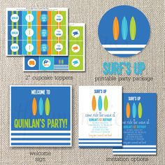 DIY Deluxe Printable Party Package. Surf's Up Birthday COLLECTION. Customizable. totful memories. $35.00, via Etsy.