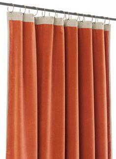 Rideau en velours doublé Medicis orange En fil d'indienne