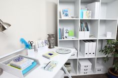 Your office could look this fabulous! Crisp, clean and coordinated! #organise #office #storage