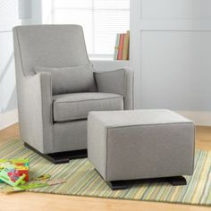 Super comfy, handmade glider features simple, clean lines, high, supportive back and removable lumbar pillow for added comfort.  Understated and beautifully crafted.  Soft, durable upholstery and smooth gliding motion on chair and ottoman make it a nursery essential.  Plus, when your baby outgrows the nursery, you'll still have an attractive living room piece.