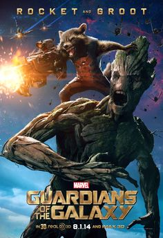 #Groot and #Rocket character poster! Guardians of the Galaxy blast into theaters August 1.