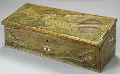 Alfred Daguet Art Nouveau box with bats, moon and butterflies. Wood with brass, copper and glass cabochons. Signed 'Alfred Daguet Paris 1905'. 14-1/2 x 34 x 13 cm.