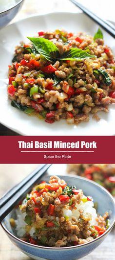 Thai Basil Minced Pork – Spice the Plate - Taiwan Inspired Dishes - Asian Thai Basil Pork, Thai Basil Recipes, Healthy Pork Recipes, Mince Recipes, Asian Recipes, Asian Foods, Ethnic Recipes, Kitchens, Pork