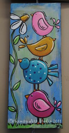 whimsical birds art Products is part of - painting a grow in love piece with hearts and birds for kids church this is similar idea Birds For Kids, Art For Kids, Drawing For Kids, Tole Painting, Painting & Drawing, Painting Canvas, Watercolor Painting, Black Canvas Paintings, Bird Paintings