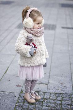 Ready for winter | Vivi Oli-Baby Fashion Life white fur pink tulle skirt tutu purple polka dot tights kid fashion ear muffs dolly