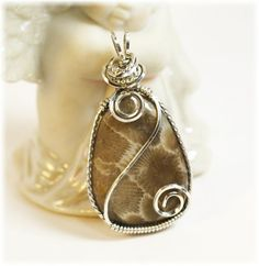 Petoskey Stone Pendant / Sterling Silver / by SimplyWired4u