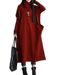 Retro Women Batwing Sleeve Solid Color Turtleneck Pocket Maxi Dress - Banggood Mobile