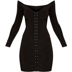 Margot Black Lace Up Bardot Bodycon Dress ($32) ❤ liked on Polyvore featuring dresses, laced up dress, lace up dress, body con dresses, body conscious dress and lace front dress