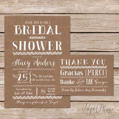 Printable Bridal Shower Invite and thank you card set  / Kraft Paper Background / DIY Wedding / Nature Inspired