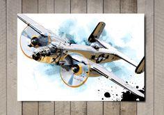 Airplane, Decor, Airplane Art, Print, WWII, vintage military B25 Bomber, art illustration, Poster art print, Airplane Gift, Aviation art by MediaGraffitiStudio on Etsy https://www.etsy.com/listing/59356057/airplane-decor-airplane-art-print-wwii