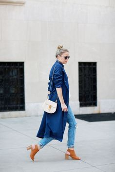 LIGHTWEIGHT TRENCH COAT - Styled Snapshots, Chloe Drew Bag, Mules, Navy Trench, Affordable spring outfits, NYC fashion, street style