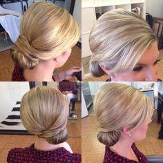 Wedding hair, bridal hair, polished hair, sleek bun, updo, chignon, beautybyverlin
