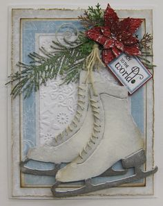 Ice Skates Christmas Card using Tim Holtz die ✔