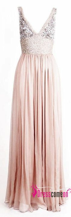 Pale Pink Bridesmaid Dress 2015 Princess Style Glitter Sequin Chiffon Blushes Long Prom Dresses For Summer Wedding - Thumbnail 2