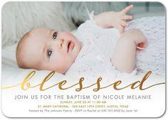 Delightful Blessing - Baptism, Christening Invitations in Gilded   Hello Little One