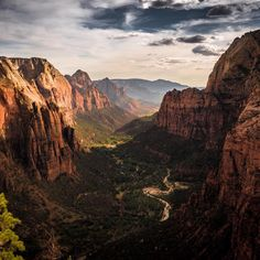 """Last light on the canyon walls of Zion #NationalPark in Utah is an incredible sight. Brock Slinger (@brockoli6) captured this stunning photo from @zionnps's #AngelsLanding. Of the experience, he says, """"After hiking up what many feel is a terrifying ridge to Angels Landing, you are greeted with amazing views of the large #Zion Canyon."""" Photo courtesy of Brock Slinger (@brockoli6)."""