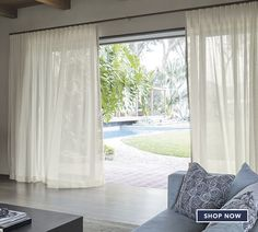 Smith and Noble's wave fold drapery system for sliding glass doors. Just enough coverage for privacy. Curtains For Bifold Doors, Glass Door Curtains, Sliding Patio Doors, Sliding Glass Door, Windows And Doors, Glass Doors, Slider Curtains, Windows Decor, Curtains Living