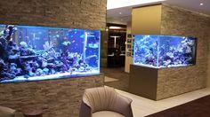 Our favorite has to be the aquarium sink. Actually, we also love the Jacuzzi tub with the floor to ceiling aquarium backdrop. Aquarium Design, Aquarium Mural, Reef Aquarium, Aquarium Fish Tank, Aquariums Super, Amazing Aquariums, Tanked Aquariums, Saltwater Fish Tanks, Saltwater Aquarium
