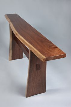 This live edge trestle hall table showcases a natural-edged top, with creamy sapwood accents along its front edge as well as on the legs. Unique Furniture, Wood Furniture, Furniture Design, Japanese Furniture, Studio Furniture, Furniture Projects, Wood Projects, Small Woodworking Projects, Woodworking Furniture Plans